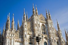 The dome of Milan In Italy. The front of the dome of Milan after the long restauration Stock Photography