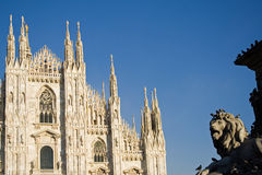 The dome of Milan In Italy. The front of the dome of Milan after the long restauration Royalty Free Stock Photos