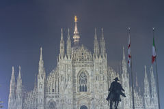 Dome in Milan, Italy. Foggy night view of Dome in Milan, Italy Stock Images