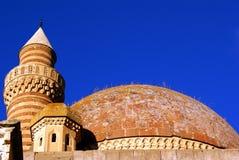 Dome, minaret and tower. On the roof of palace Ishak Pasha Saray, Dogubeyazit, Turkey Stock Image