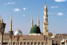Dome and minarets of masjid nabavi Royalty Free Stock Image