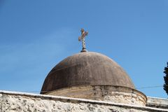 Dome, Monastery of the Cross, Jerusalem, Israel. Dome with cross at the Monastery of the Cross, Jerusalem, Israel Stock Photography