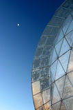 Dome and Moon. The moon can be seen next to a dome at the top of Mauna Kea on the Big Island of Hawaii stock photography