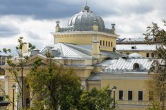 Dome of Moscow Choral Synagogue. In Bolshoy Spasogolinischevsky Lane in Moscow city in autumn day Stock Image