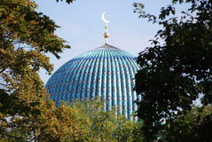 Dome of mosque. The top of the tiled dome With Arabic mosaics of the ancient mosque in Saint Petersburg, Russia Royalty Free Stock Images