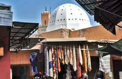 Dome of mosque near street market in Morocco royalty free stock photos