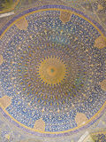 Dome of the mosque, oriental ornaments from Shah Mosque in Isfah Royalty Free Stock Photo
