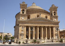 Dome in Mosta, Malta. Sunny day front view to dome in Mosta, Malta Royalty Free Stock Photo