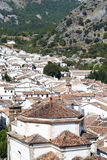 Dome on the mountain. Aerial view of Grazalema is located in the Spanish province of Cadiz, a typical rural village of white houses with mountains in the Royalty Free Stock Photos