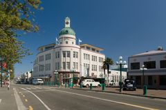 The Dome Napier New Zealand. The Dome formerly the T&G Mutual Building built in 1935 an iconic landmark in the Art Deco City of Napier in New Zealand Royalty Free Stock Photo