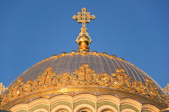 Dome of Naval cathedral of Saint Nicholas in Kronstadt. Royalty Free Stock Photo