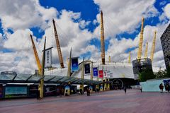 The dome London O2 arena. The dome of the O2 arena that can be seen in outer space in London UK stock images
