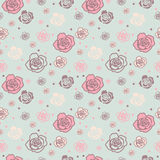 Dome o teste padrão sem emenda com as rosas grandes e pequenas Fotos de Stock