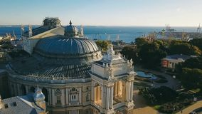 Dome of the Odessa Opera House. Ukraine. aerial video footage. city cultural sightseeing. central facade. Sunrise. Morning in Odessa. Morning sunrise soft stock video footage
