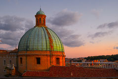 Dome Of Cathedral Sunset Ancona Italy Stock Photo