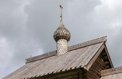 Dome of old wooden orthodox church Stock Image