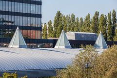 Dome op an roof. Plastic Dome in a row on a metal roof stock images