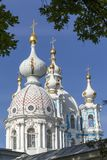 The dome of the Orthodox Church against the blue sky. Concept of religion. Close up stock image