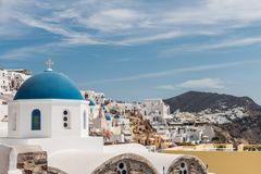 Dome of church with city. Dome of orthodox church with city royalty free stock photos