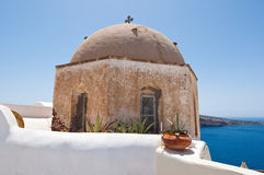 The dome of the orthodox church on the island of Santorini, Oia. Stock Images