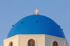 Dome of Orthodox church in Oia Stock Photos