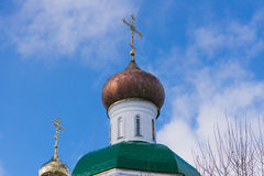 The dome of the Orthodox Church. Photo of the dome of the Christian Orthodox church with the cross of the Mari diocese Stock Photos