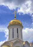 Dome of the orthodox temple. Against the sky with clouds Royalty Free Stock Image