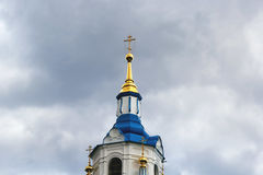 Dome of an Orthodox temple. On cloudy sky background Royalty Free Stock Image