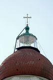Dome of the Orthodox temple with a cross and lighthouse Royalty Free Stock Images