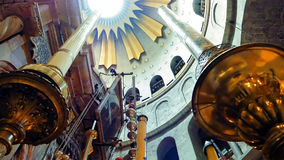 Dome over Jesus Empty Tomb in Jerusalem. Dome over Jesus Christ empty tomb and rotunda in Jerusalem in the Holy Sepulcher Church. The Church and Empty Tomb the stock images