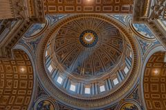 The dome paintings at the dome of the St. Peter Basilica di San stock image