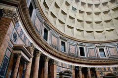 Dome of Pantheon. The dome and interior view of the Pantheon in Rome Stock Image