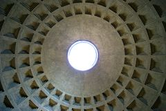 Dome of the pantheon indoor stock photo