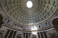 Dome of the Pantheon. Inside view. Ray of sunlight passing throu stock photo