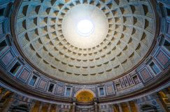 The dome of the Pantheon in Rome, Italy. stock photo
