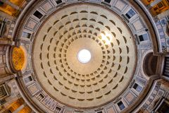 The Dome of the Pantheon in Rome, Italy. The Pantheon is the oldest intact Roman building in the world and also the tomb of Rafael Royalty Free Stock Photo