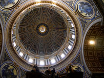 Dome of the Papal Basilica of St. Peter in Vatican City. Designed principally by Donato Bramante, Michelangelo, Carlo Maderno and Gian Lorenzo Bernini, St. Peter stock images