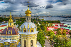 Dome  Peter and Paul Cathedral top view panorama St.-Petersburg Stock Photography
