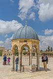 Dome of the Prophet Jerusalem. JERUSALEM, ISRAEL - MAY 23, 2016: Visitors sightseeing the Dome of the Prophet, is the prayer niche of the Prophet Muhammad next Royalty Free Stock Photography