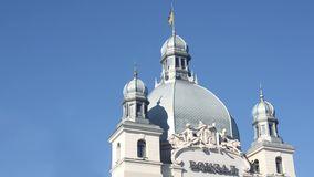 Dome railway station in Lviv with fluttering flag of Ukraine. Side view stock video