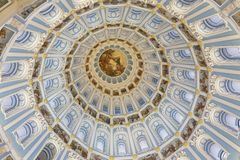 Dome of the resurrection Cathedral of the new Jerusalem monastery. Moscow region. The dome of the Resurrection Cathedral inside, painted with blue paint, narrow royalty free stock photo
