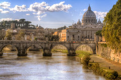 Dome and river in Rome, Italy. Travel. Postcard Royalty Free Stock Image
