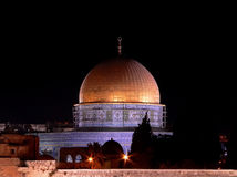 Dome of the Rock. The dome of the rock at night: a religious landmark stock photography