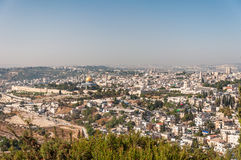 Dome of the Rock in beautiful panorama of Jerusalem Royalty Free Stock Photos