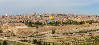 Dome of the Rock. In beautiful panorama of Jerusalem from Mount of Olives Stock Image