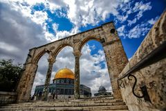 The dome of the rock. From the corner very soon to place stock photo