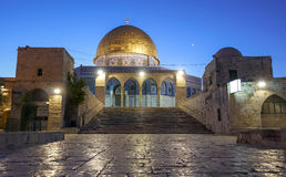 Dome of the Rock and the day after sunset crescent in the sky Royalty Free Stock Photo