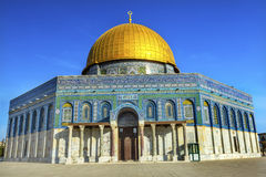 Dome of the Rock Islamic Mosque Temple Mount Jerusalem Israel. Built in 691 One of most sacred spots in Islam where Prophet Mohamed ascended to heaven on an Royalty Free Stock Images