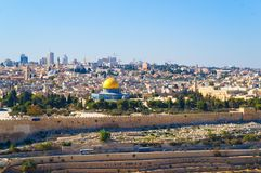 Dome of the Rock in Jerusalem. Dome of the Rock, view to Jerusalem from Mount of Olives Royalty Free Stock Photography