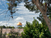 Dome of the Rock. Jerusalem. Jerusalem, the old city. View of the city wall and the mosque of Al-Sahra Kubbat Mount of Olives Royalty Free Stock Photography